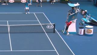 Ball Kid Gets Hit In The Face | Australian Open 2014
