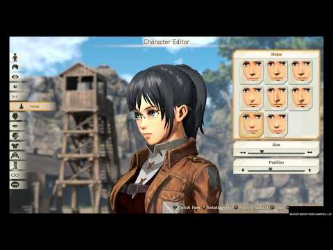 Attack On Titan 2 : Female Character Creation Part 1 :  (ALL FEMALE HAIR,EYES,NOSES,ECT.)