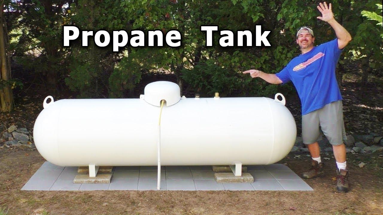 Propane Tank Install 1 700 New Above Ground 320 Gallon Holding Leaking Underground Youtube