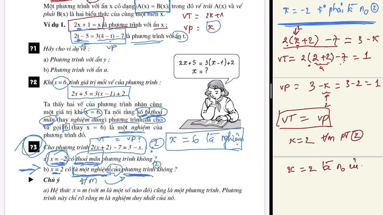 Nghiệm của phương trình là gì ? Thế nào là nghiệm đúng, thoả mãn... ? - Toán 8