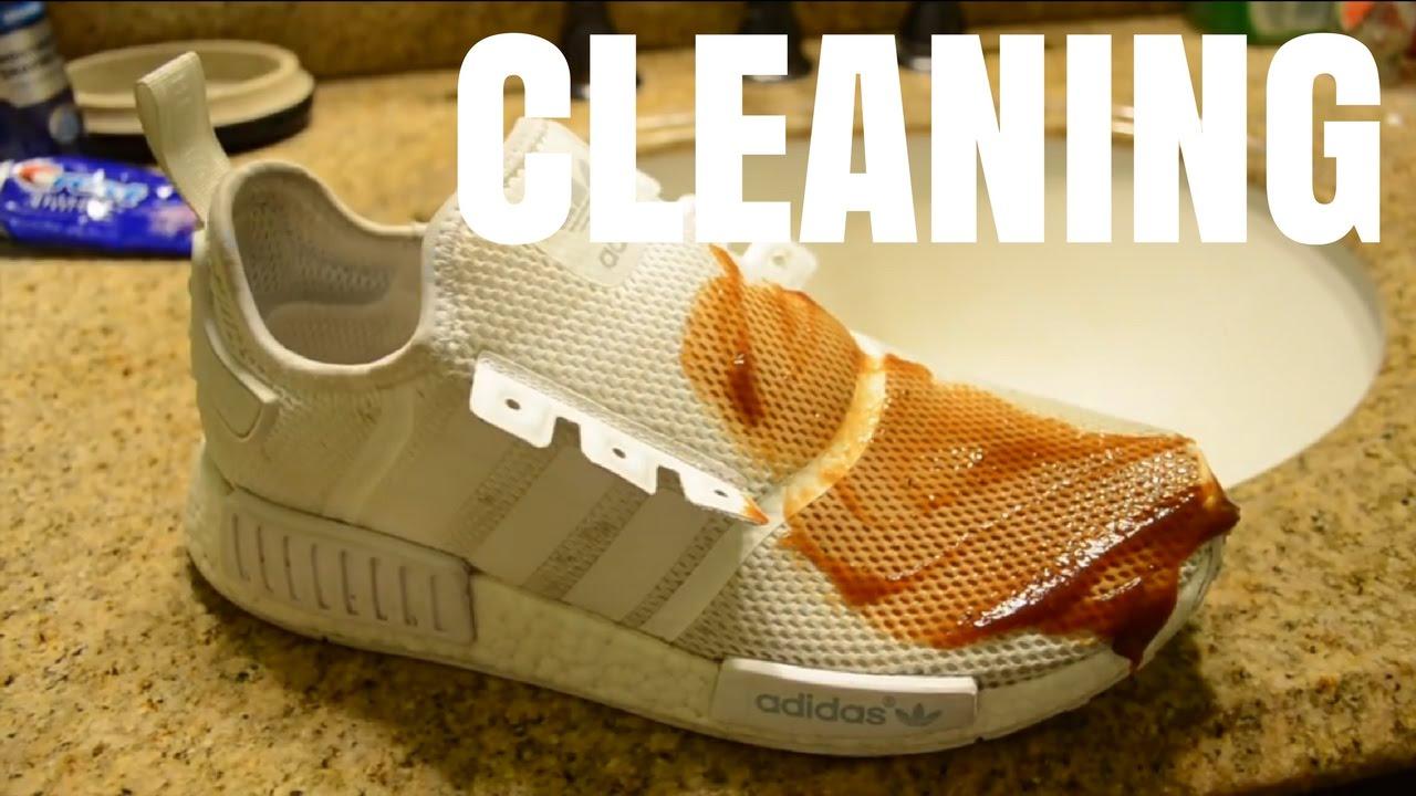8dbcaebf635b7 How to Clean Adidas Triple White Nmd R1 - YouTube