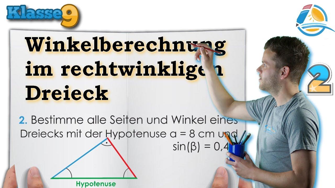 Winkelberechnung Dreiecke sinus kosinus || Klasse 9 ☆ Übung 2 - YouTube