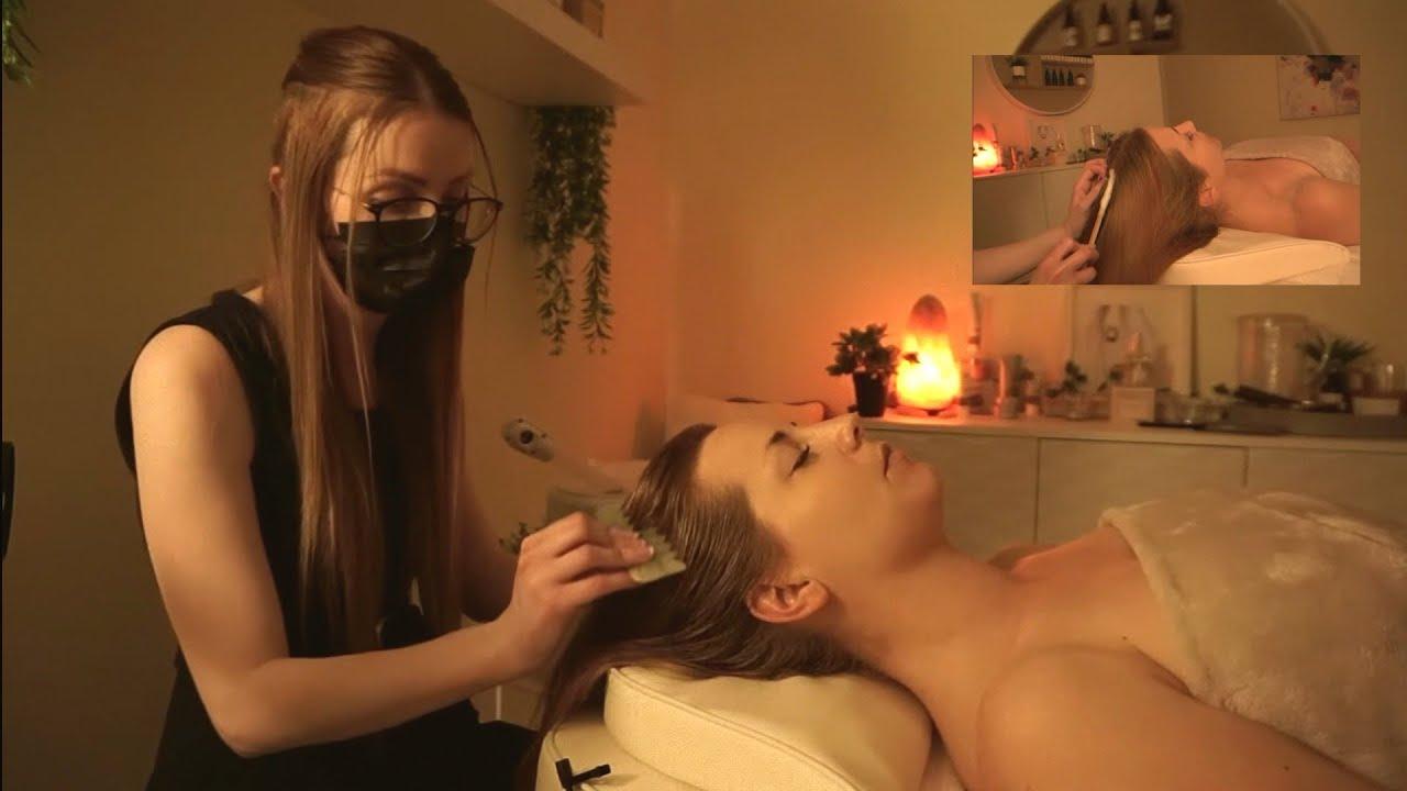 ASMR Dreamy Steamy Head Spa   Steam, Oils, Scalp Scaling, Jade Comb & Tingly Massage   Soft Spoken.