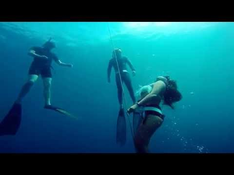 Freediving from 0 to 20 meters in 20 seconds