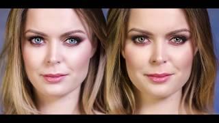 Rozświetlający makijaż ślubny dla niebieskich i zielonych oczu.