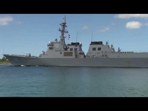 Republic of Korea Sejong the Great-Class Destroyer Sejong the Great (DDG 991)Departs