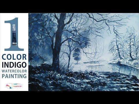 Indigo monochrome watercolor painting art tutorial (wet technique)