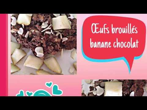 petit-déjeuner-weight-watchers-recettes-œufs-brouillés-banane-chocolat