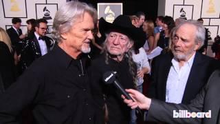 Kris Kristofferson, Willie Nelson & Merle Haggard on the GRAMMYs Red Carpet 2014