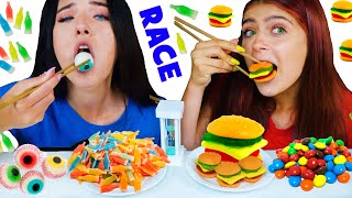ASMR CANDY RACE WITH CHOPSTICKS | EATING SOUNDS LILIBU