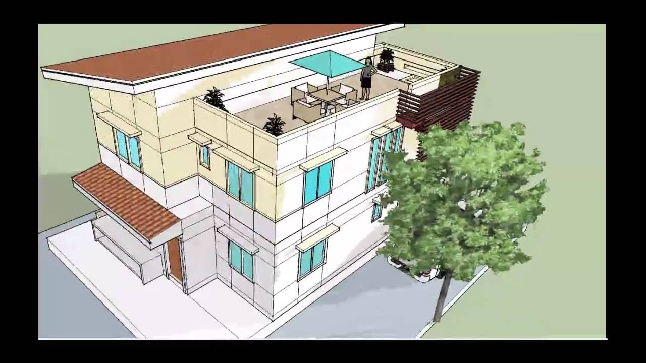 Two storey residential with roof deck youtube for 2 storey house design with roof deck