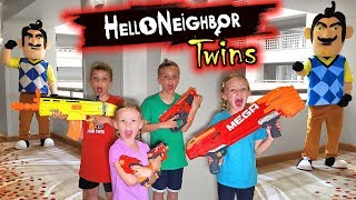Hello Neighbor Twins in Real Life in a Hotel! Twin Toys PBT Nerf Battle and Toy Scavenger Hunt!