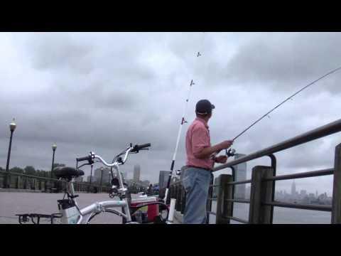 Fishing At Liberty State Park,  Jersey City New Jersey - Blue Fish