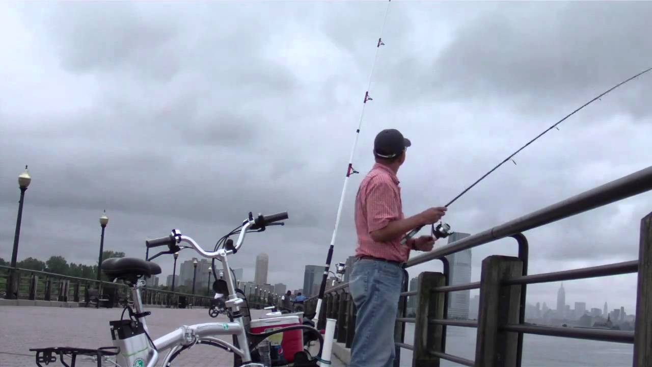 Fishing at liberty state park jersey city new jersey for Blue fishing nj