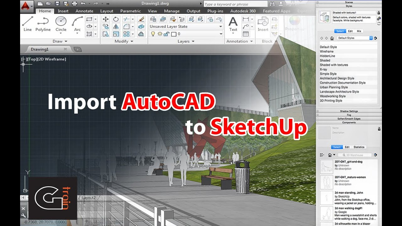 Import autocad to sketchup youtube for Sketchup import