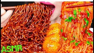 ASMR BLACK BEAN FIRE NOODLES + SPICY ENOKI MUSHROOMS 짜장 불닭 볶음면 + 매운 팽이버섯 먹방 EATING SOUNDS
