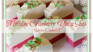 Making Holiday Cranberry Yuzu Soap