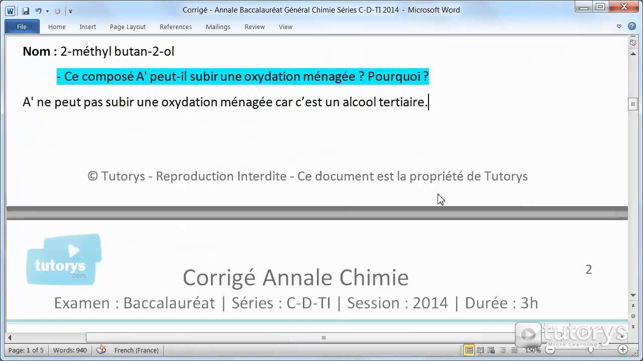 Corrigé - Annale Baccalauréat Général Chimie Séries C D TI 2014 Corrigé - Annale Baccalauréat Général Chimie Séries C D TI 2014