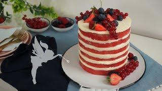 Wassermelonen Naked Cake - Wassermelonen Desserts - No Bake Wassermelonen Torte - Kuchenfee
