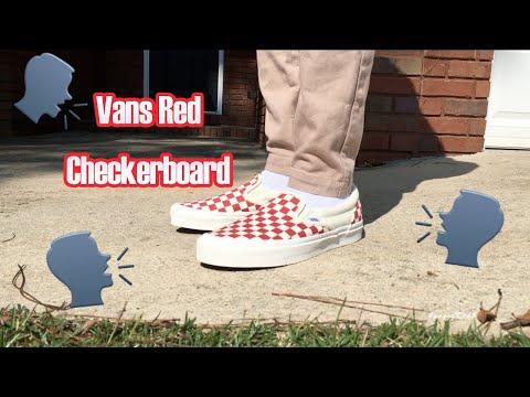vans red white checkerboard slip on off