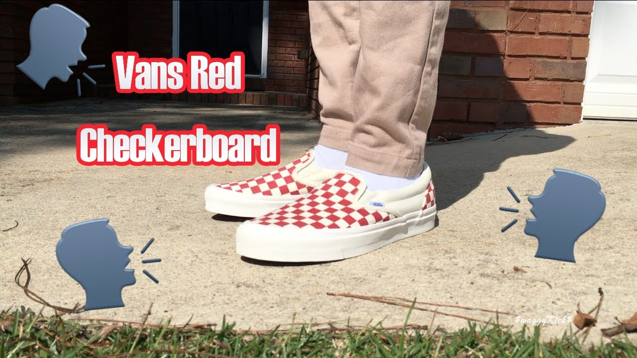 b1469028e809 VANS VAULT OG CLASSIC SLIP ON RED CHECKERBOARD