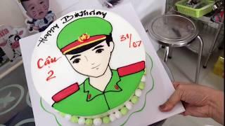 Bánh kem vẽ chú công an - Cake police