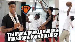 7th Grader SHOCKS NBA Rookie John Collins with a DUNK in His School Uniform!! 😳😂