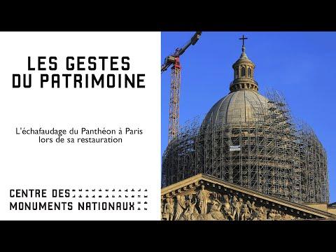 L'échafaudage du Panthéon à Paris lors de sa restauration