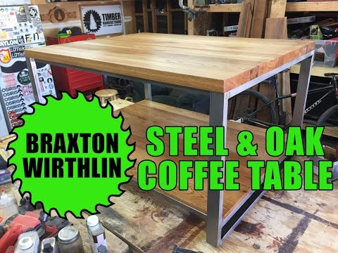 Modern Steel and Salvaged Oak Coffee Table