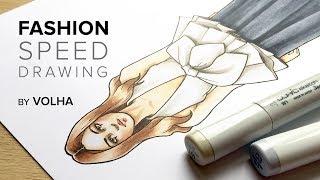 Fashion speed drawing 6 / Рисую фэшн иллюстрацию|рисунок девушки мода
