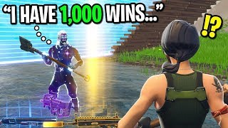 GALAXY SKIN CARRIES DEFAULT SKIN NOOB ON FORTNITE! (He Has 1,000 Wins)