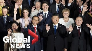 """G20 Summit: World Leaders Pose For """"family Photo"""" In Osaka"""