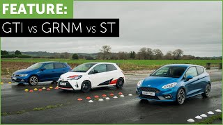 Drag Race and Road Test - VW Polo GTI - Toyota Yaris GRMN - Ford Fiesta ST