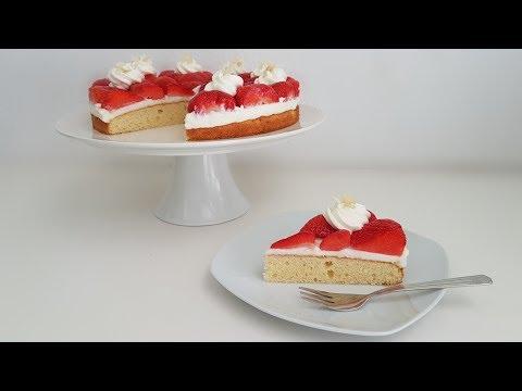 Erdbeerkuchen Mit Quark Sahne Creme / Strawberry Cake