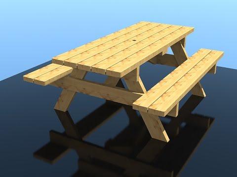 Деревянный садовый стол своими руками - YouTube