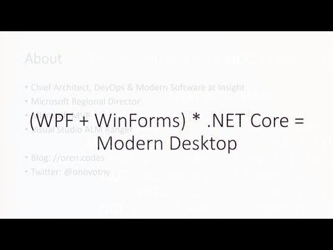 (WPF + WinForms) *  NET Core = Modern Desktop - Oren Novotny