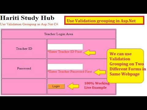 Use Validation Group with Validation Controls in Asp Net C# | Hindi | Free  Online Classes Asp Net