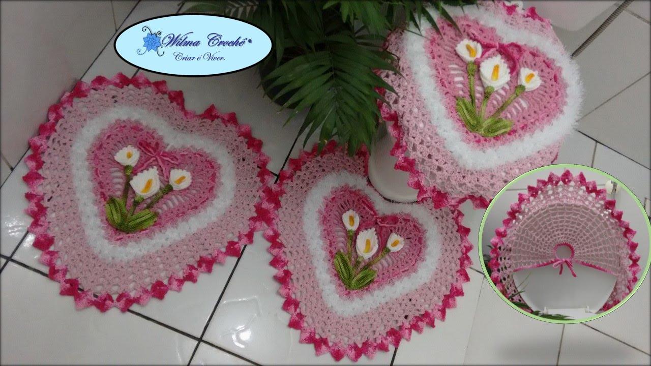 Jogo de Banheiro Coração Tapete de Pia 12 # Wilma Crochê  YouTube -> Jogo Pia De Banheiro