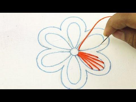 Very easy hand embroidery flower design, bordado a mano, Bordado de flores, bordado mexicano