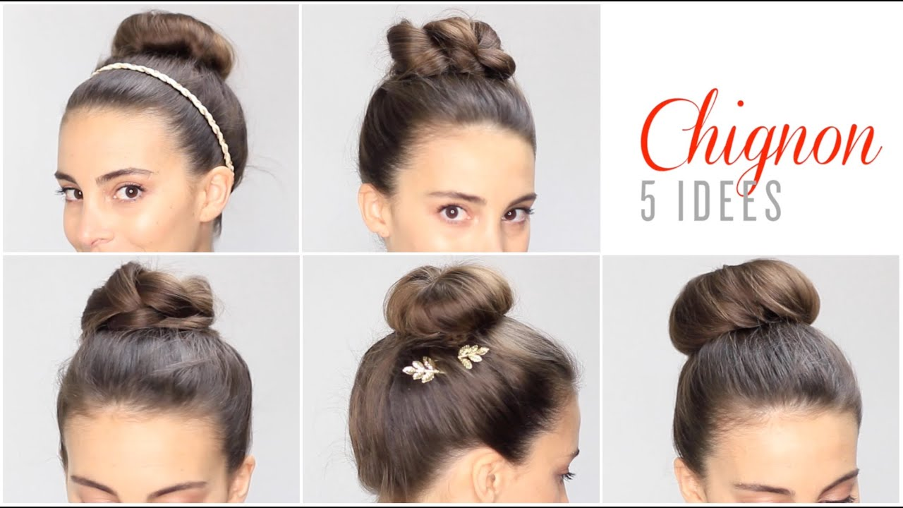 tuto coiffure chignon facile 5 id es youtube. Black Bedroom Furniture Sets. Home Design Ideas