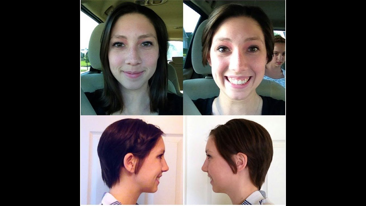 Haircut On Brunette From Long To Short Pixie Cut Youtube