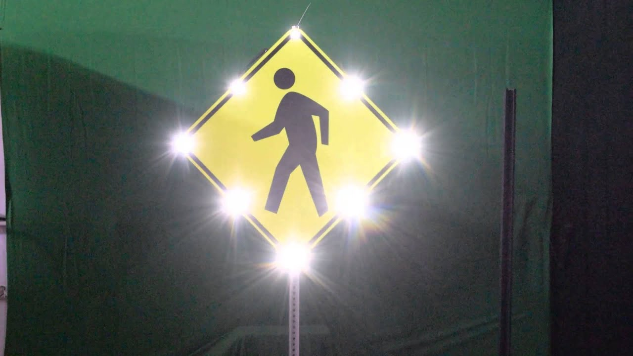 Solar Flashing Pedestrian Sign With Audible Warning Youtube