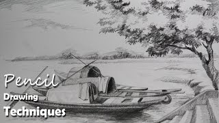 Pencil Drawing Tutorial | How to Draw Boats & A Riverside landscape
