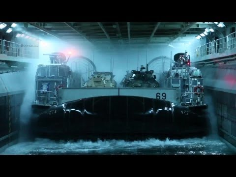 Navy LCAC Hovercrafts Docking on USS Kearsarge