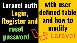 Login, Register and reset password with Laravel  auth (with user defined table) and how to modify