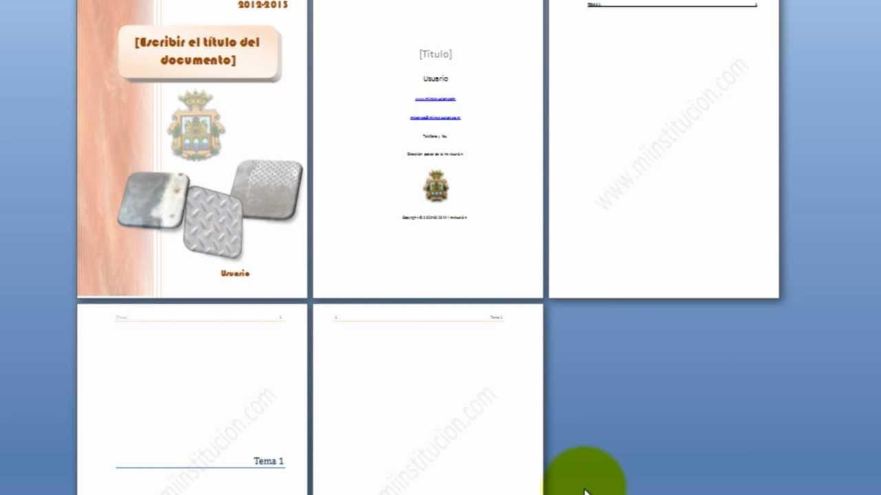 4.- Índice (tabla de contenidos), marcas de agua y macros en una ...