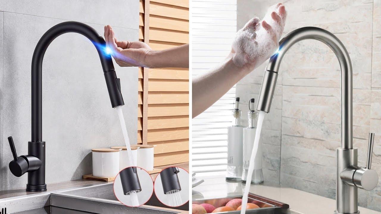 stainless steel sensor kitchen faucets black touch inductive sensitive faucet link in description