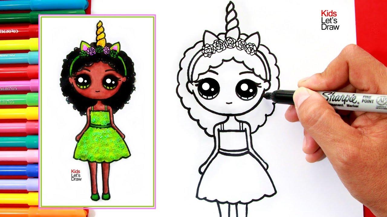 Aprende A Dibujar Una Nina Unicornio Morena Kawaii How To Draw A