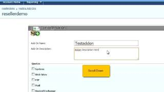 How To Create Hosting Account Addons In Websitepanel