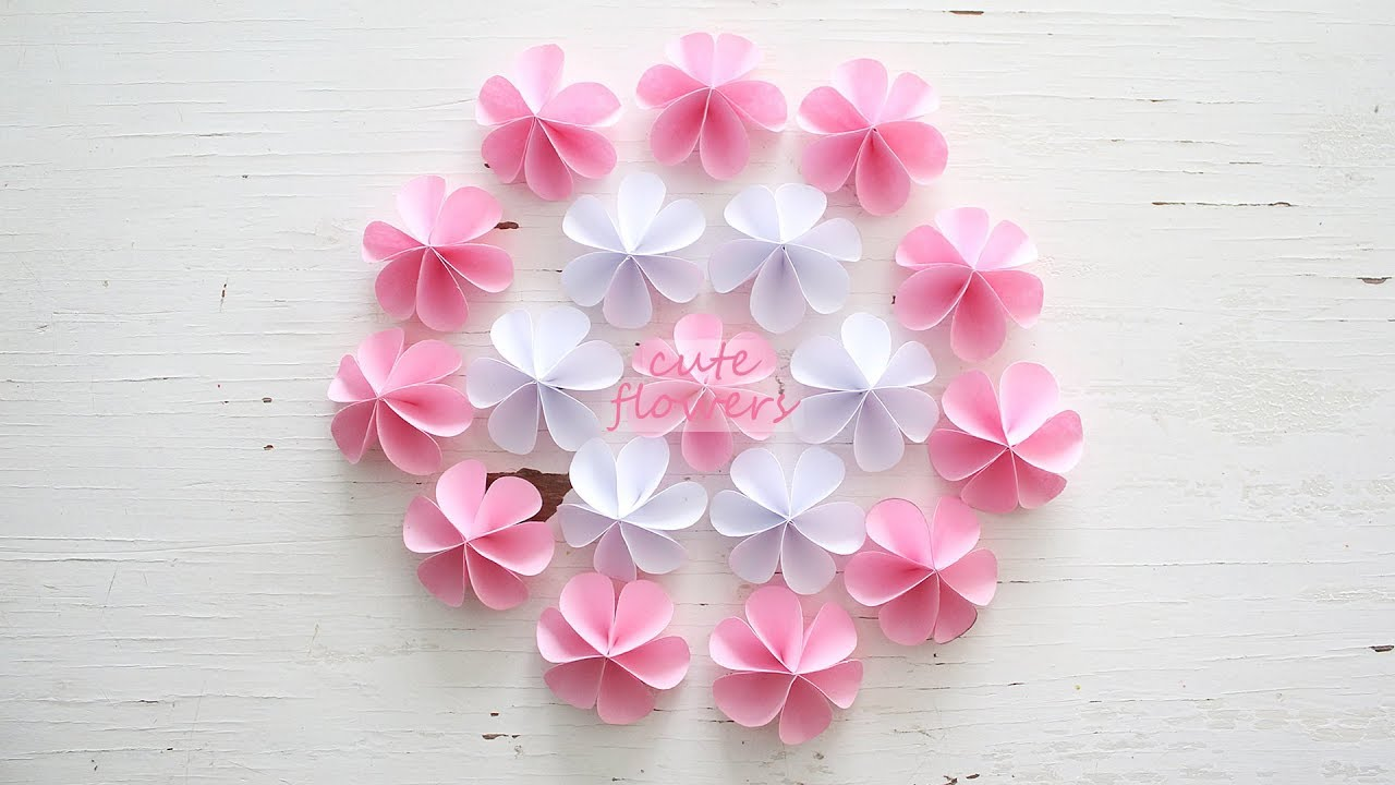 DIY Cute Paper Flowers   YouTube DIY Cute Paper Flowers